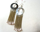 Coquette, Earrings - aged bronze chains, silver metal hoop and beads in cream