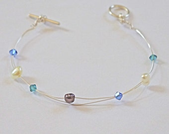 Sapphire and Blue Zircon pearl and crystal bracelet  - freshwater pearl, crystals, silver