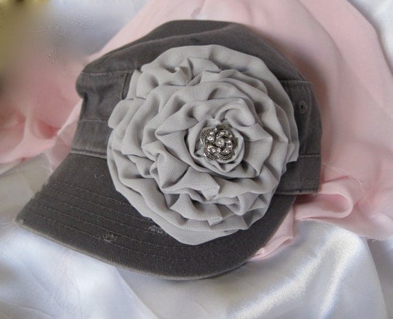 Gray Cadet Military Distressed Army Hat with Gray Chiffon Flower and Rhinestone Accent.