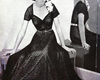 "Waltzing Matilda- 50s knitting pattern- STUNNING knitted lace gown, portrait neckline b33-34"" 25"" waist- knitting ePattern pdf"