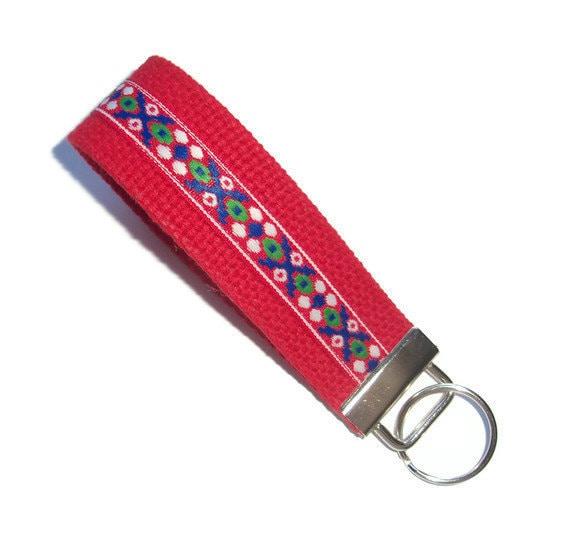 Key Fob/Key Ring - Wristlet Design - Red Cotton Webbing - UK Seller