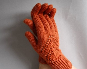 Beautiful hand knitted openwork gloves. Gloves for ladies, available in many colours.