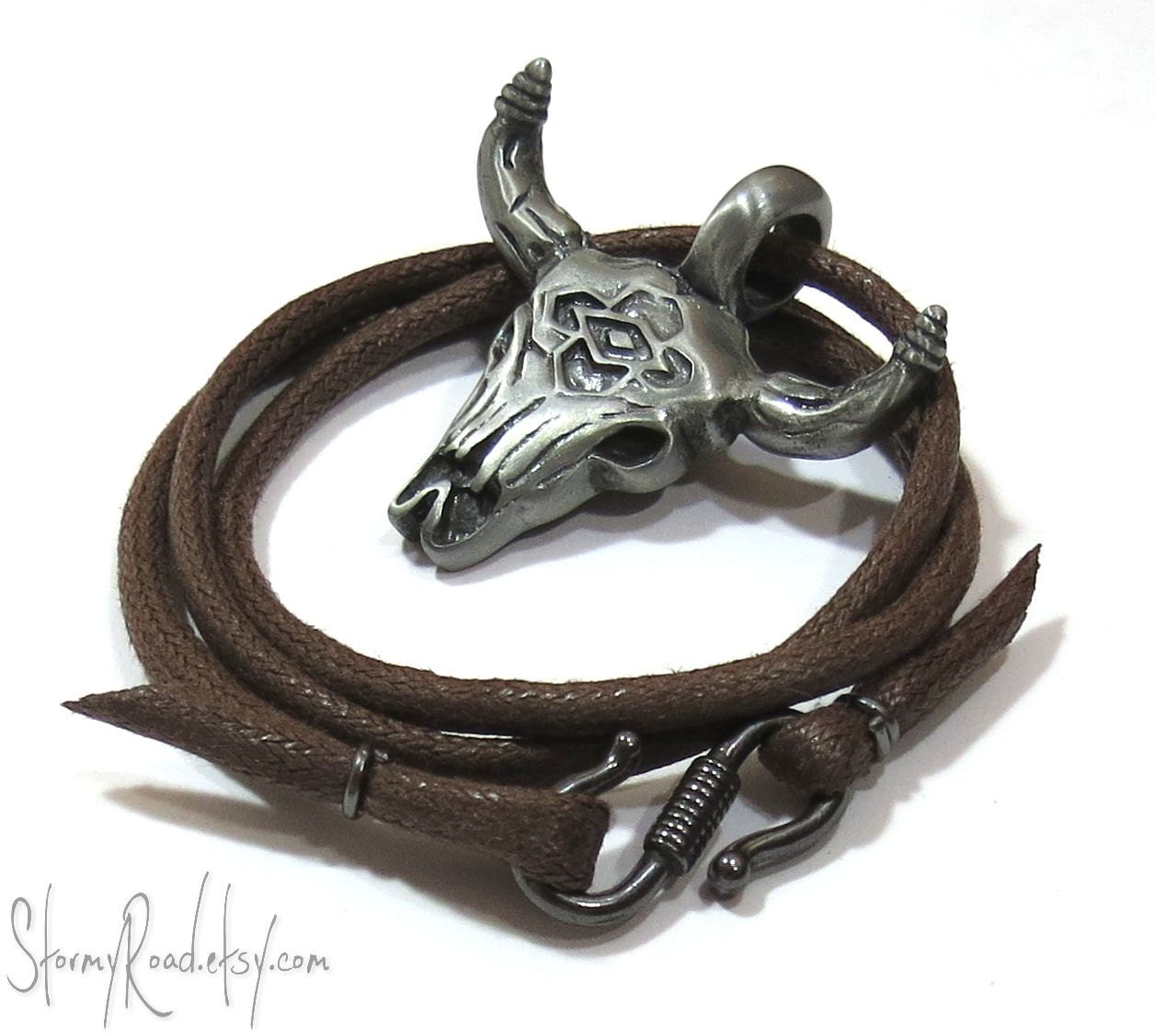 southwestern necklace bull skull necklace mens by stormyroad