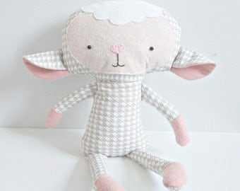 Lamb Stuffed Animal - Children's Toy - Houndstooth Fabric