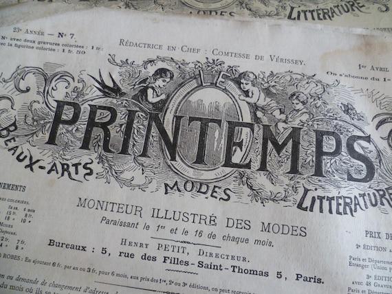Antique Fashion Magazines x 4 French . Printemps Modes., Circa 1888
