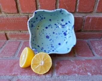 Flower Shaped Turquoise Gloss Fruit Bowl with Interior Design and Cobalt Splashes