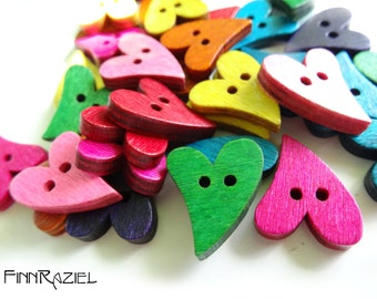 Mix of 6 wooden heart buttons mixed colors 6 colors pink, yellow, blue, green, purple, orange