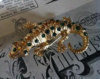 Vintage Gold Tone Green,Amber Rhinestone Lizard Gecko Brooch Pin