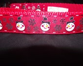 Snowman with snowflakes adjustable collar or martingale