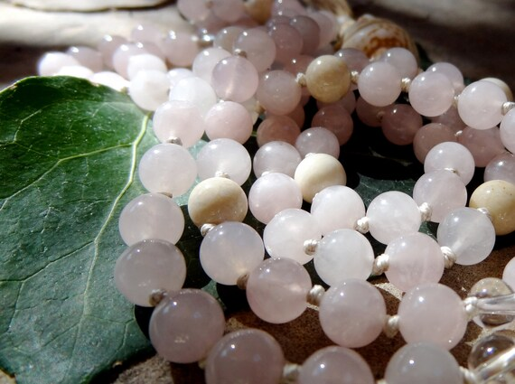 Rose Quartz Knotted Mala Beads - Yoga Prayer Beads Mala Me Mala