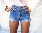 Plain Denim Shorts High Waisted Vintage Choose your size Made to Order