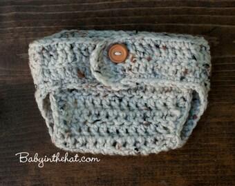 Diaper Cover Simple One Button Crochet Photo Prop - Pick Your Color