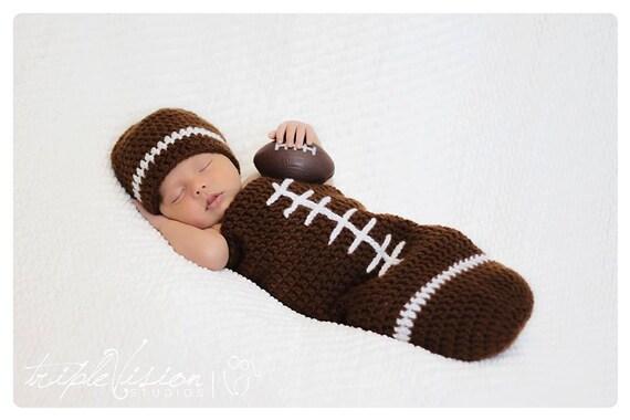 Newborn Football Crochet Hat And Cocoon Photo Prop Set Preemie Infant