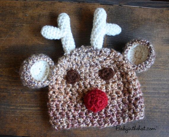 Children's Santa Rudolf The Red Nose Reindeer Christmas Holiday Plush Crochet Hat