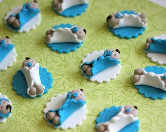 Whimsical Boy Baby Shower Fondant Toppers - Perfect for Cookies, Cupcakes and Other Edible Treats