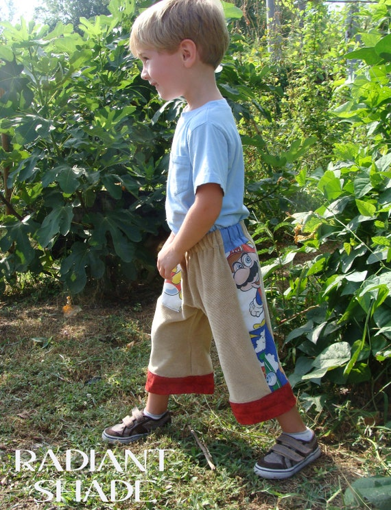 Mario kid shorts corduroy fits 5-7 hippie patchwork board shorts for kids nintendo RESERVED