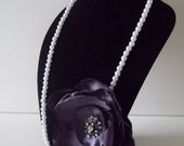 """Large Deep Purple 5"""" Rose Rosette Flower Pearl Necklace with Center Rhinestone Brooch 16"""" Length"""