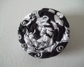 """Coil Blossom Coiled Fabric Flower Hair Accessory Clip 2.25"""" in Black and White Floral Cotton Print"""