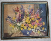 Vintage 1940's Floral Print Blue Gold Frame in Glass Parisian Apartment Chic