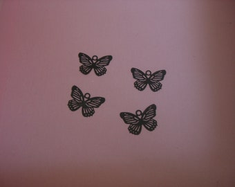 """Plated Brass Filigree Butterfly Charm """"laser lace"""" in Black or Gold (4)"""