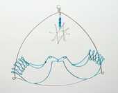 Mini birds in love, with dangling wire star - wire hanging / Valentines gift
