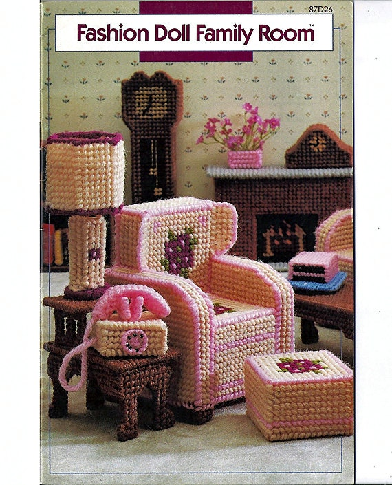 Fashion Doll Family Room Plastic Canvas Pattern For Barbie