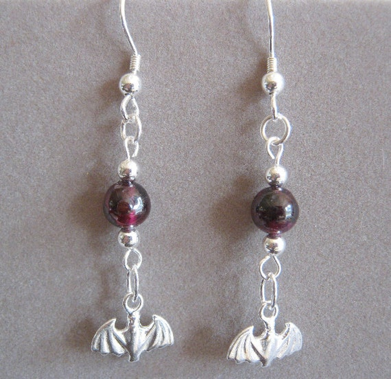 Mina Garnet and Sterling Silver Bat Genuine Gemstone Earrings