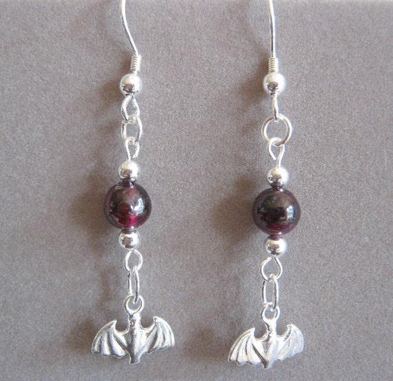 Mina Garnet and Sterling Silver Bat Genuine Gemstone Earrings