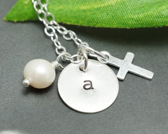 Personalized cross necklace, custom initial, faith necklace, spiritual gift, cross charm, sterling silver, hand stamped