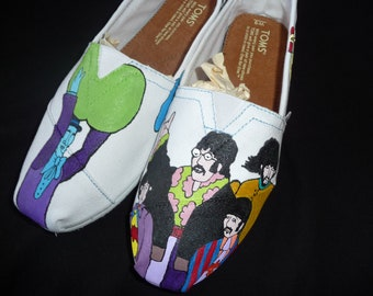 Custom Hand Painted Shoes - Beatle's Yellow Submarine