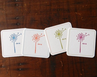 Set of 4 funny Letterpress Dandelion Coasters