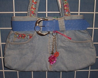 Belted in Blue with multi colored Flowers--Think Spring