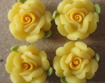 10 pcs 14 mm Polymer Clay Flower ,rose,Beads, FIMO, Pendant Charm craft jewelry Necklaces Earrings Bracelet Accessories -yellow k4