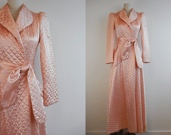 Vintage Quilted Satin Robe 1940s Long Bias Cut Blush Pink