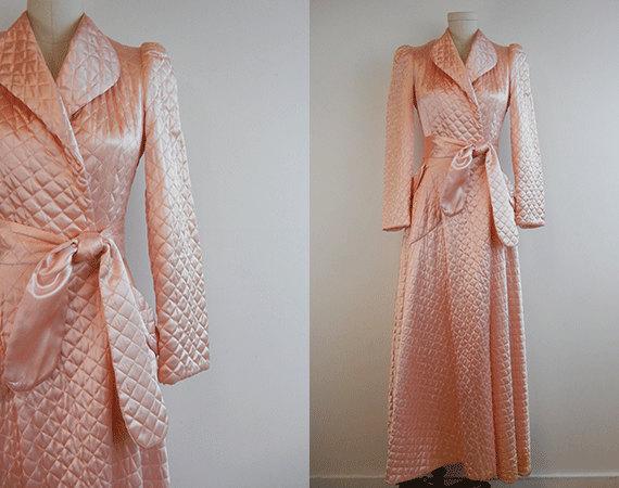 Vintage Quilted Satin Robe 1940s Long Bias Cut Blush Pink