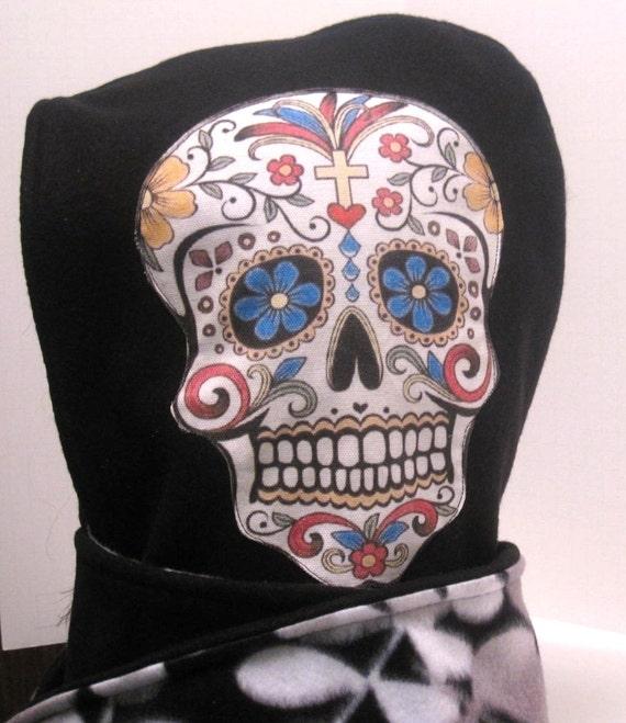HOOD Day of the dead/ sugar skull hooded scarf
