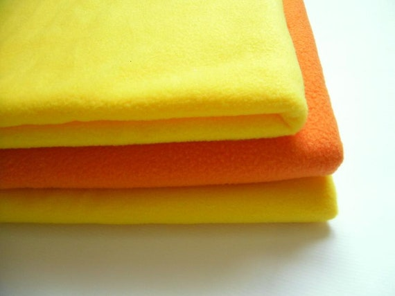 SALE  Fleece fabric Yellow Orange solid - 3 pcs