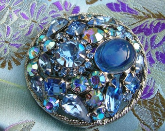 Vintage 1960's Blue Cushion Brooch Rhinestones / Navettes Chatons Tear Emerald Rosette Cabachon Stones Costume Jewelry Pin