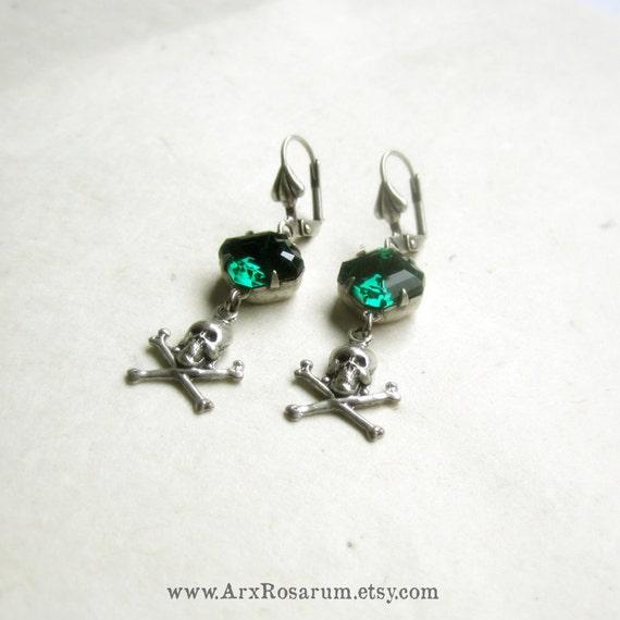 Skull Earrings - Emerald Green Vintage Glass - Silver Ox - Gothic Punk Pirates - Rhinestone Jewelry