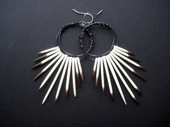 RESERVED for Marcus single earring- Porcupine Quill Wire Hoop Tribal Earrings