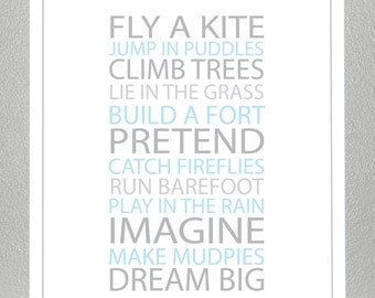 Boys nursery wall art - light blue and gray - 8x10 Poster