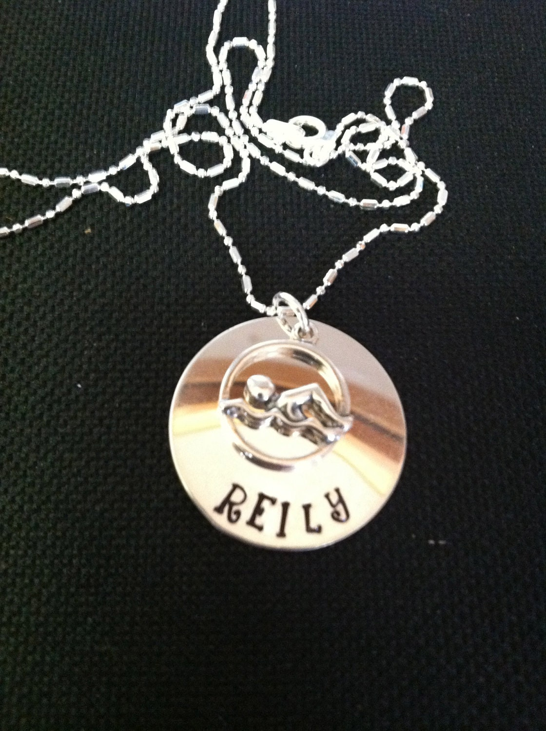 Sterling Silver Hand Stamped Swimming Personalized Necklace