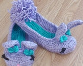 Women's crochet bunny slippers.  Sizes 5-10 (U.S.)