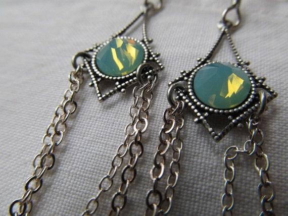 Mermaid's eyes- Art Deco Swarovski Crystal Rhinestone Sterling Silver Sea Green Opal earrings