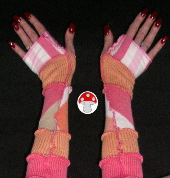 Cotton Candy Arm Warmers Fingerless Gloves Upcycled Recycled Sweater Art Fairy Elf Pixie Coral Pink Orange Sherbert Carnival Fae Warmies