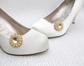 Wedding Shoe Clips Swarovski Crystal Cream Pearl & Gold Bridal Bridesmaid Accessories