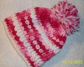 BABY BEANIE Crochet fits size newborn to 3 months. PINK white, pom pom. Baby girls beanie hat. Summer Sale on Baby fashion hat, cottage chic