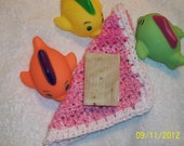 Baby Girl, 100% cotton wash cloth. 2 ounce bar of cold process Lavender soap. Baby or toddler bath set.