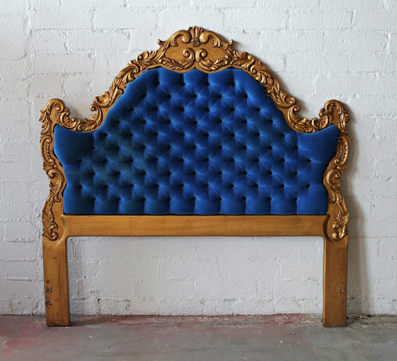 Exquisite Hollywood Regency Deco Royal Blue and Gold Tufted Queen Size Headboard