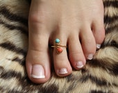 NEW Fall Genuine Turquoise and Red Pink Coral Sterling Silver Wire Wrapped Adjustable Ring/Toe Ring FREE SHIPPING